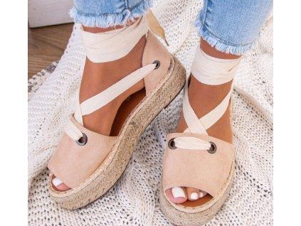 sandalki espadryle zamszowe bezowe lailatzju