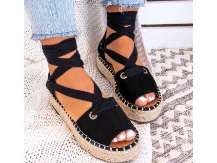 Dámské pantofle na platformě černé
