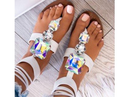 sandalki japonki z krysztalkami biale alinne