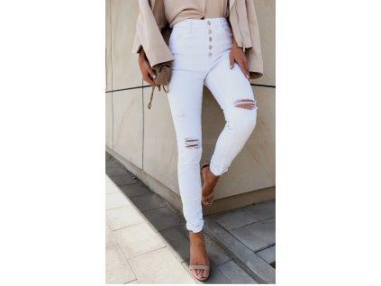 biale jeansy white story z guzikamiergz