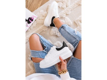 trampki sneakersy bialo czarne paddy two 11848