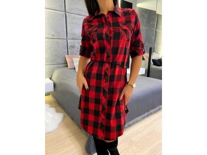 Dámské šaty Karované černo červené