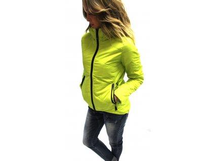 Jarní bunda asymetricka neon limetka AKCE