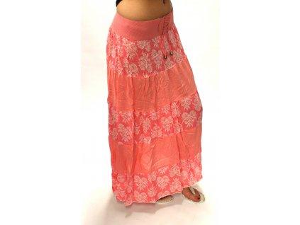 Dámské dlouhá sukně květy růžové