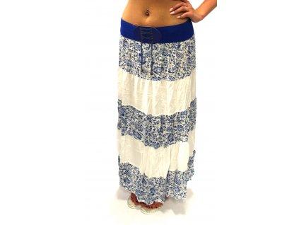 Dámské dlouhá sukně květy bílé/ modré