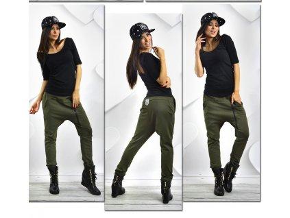 kolor wojskowa zieleń spodnie dresowe baggy rurki zip kolory