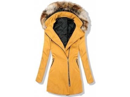 Dámský kabát hořčicový