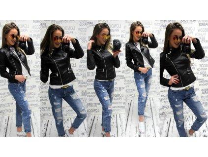 Dámská kožená bunda černá