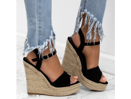 sandalki espadryle koturny czarne gianny