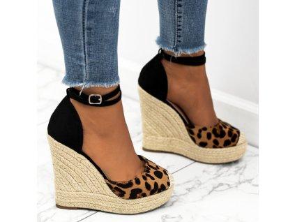 sandalki espadryle zamszowe koturny panterka tina