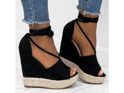 sandaly espadryle na koturnie zamszowe czarne elenia