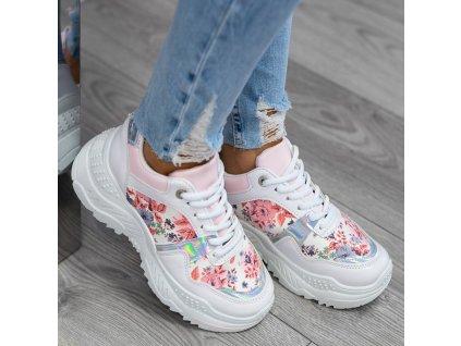trampki sportowe biale w kwiaty niko flower