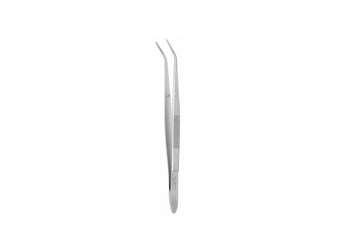 Pinzeta zubní s rýhovanou čelistí zahnutá  15.7cm