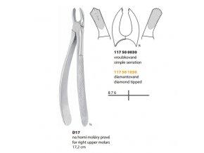Kleště extrakční D17 na horní  moláry pravé 17.2cm