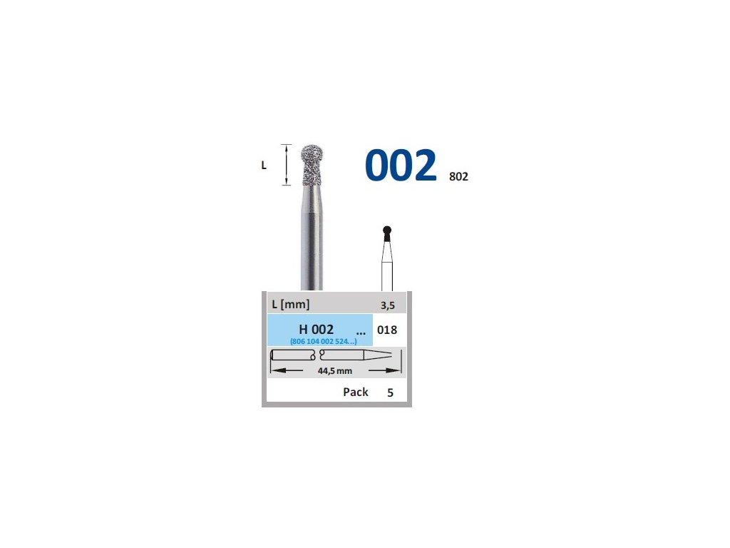 HORICO diamantový brousek - kulička, H002 (Zrnitost normal, Pracovní část Průměr 1,8mm (018))