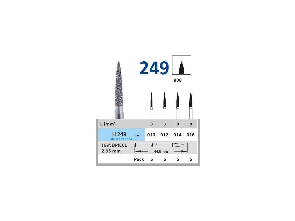 HORICO diamantový brousek - plamínek, H249 (Zrnitost normal, Pracovní část Průměr 1,0mm (010))