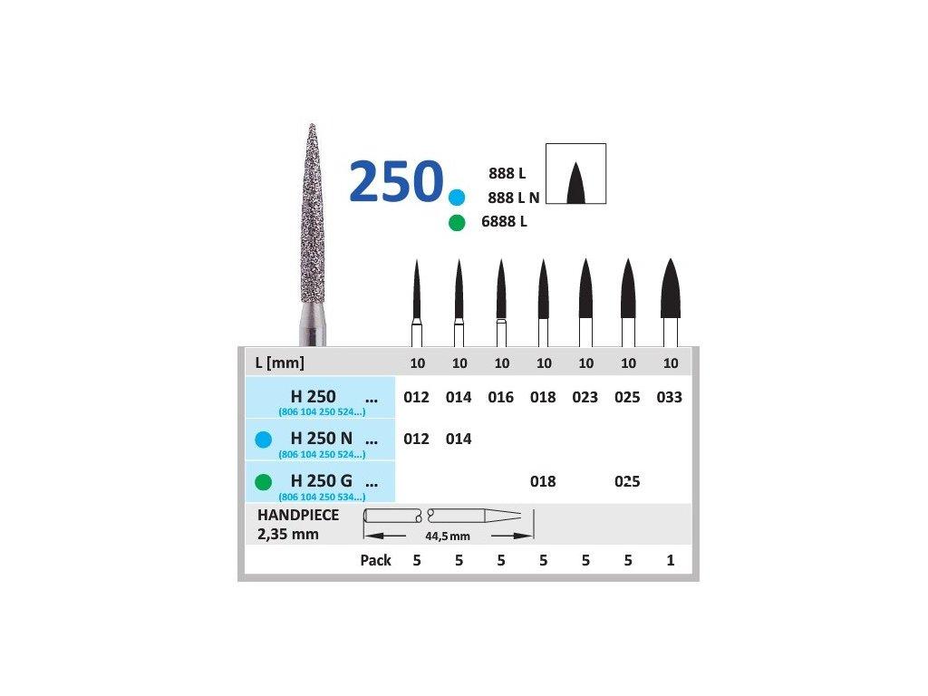 HORICO diamantový brousek - plamínek, H250 (Zrnitost normal, Pracovní část Průměr 1,2mm (012))