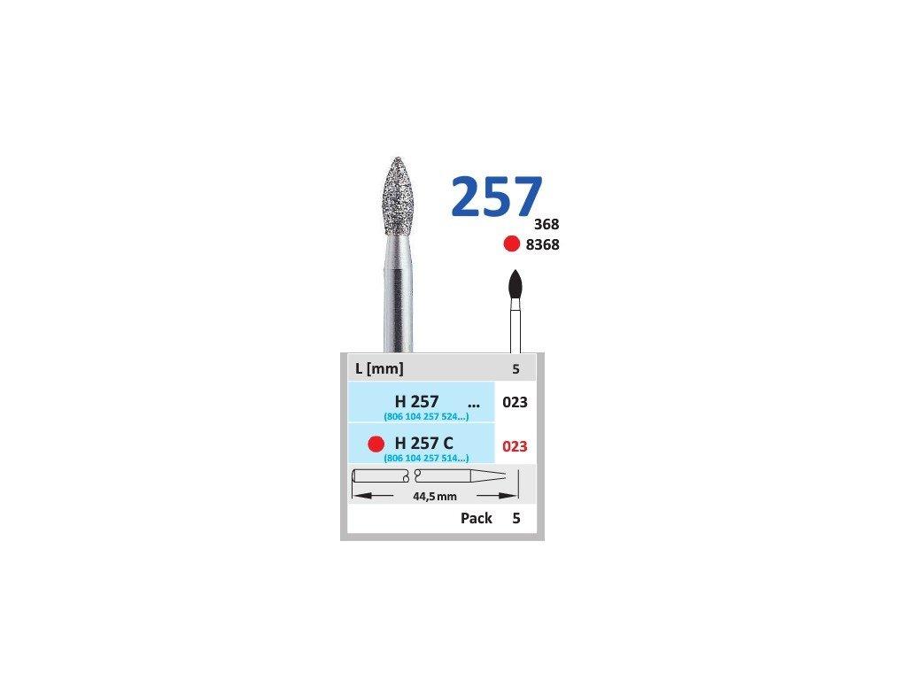 HORICO diamantový brousek - plamínek, H257 (Zrnitost normal, Pracovní část Průměr 2,3mm (023))