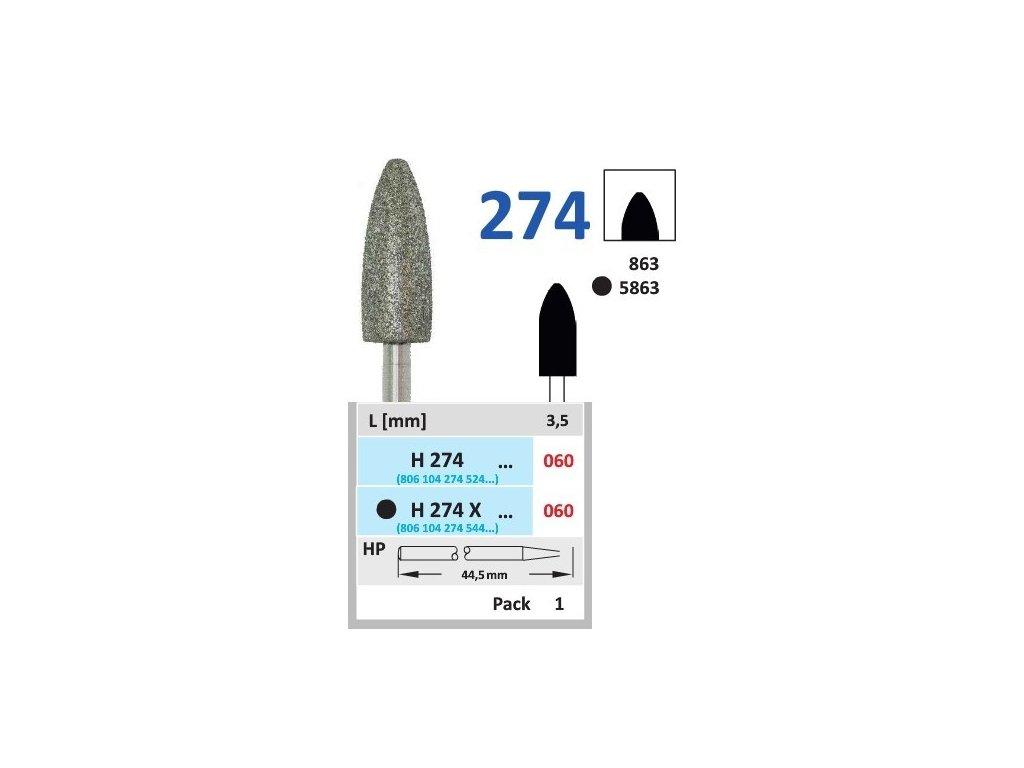 HORICO diamantový brousek - plamínek, H274 (Zrnitost normal, Pracovní část Průměr 6,0mm (060))
