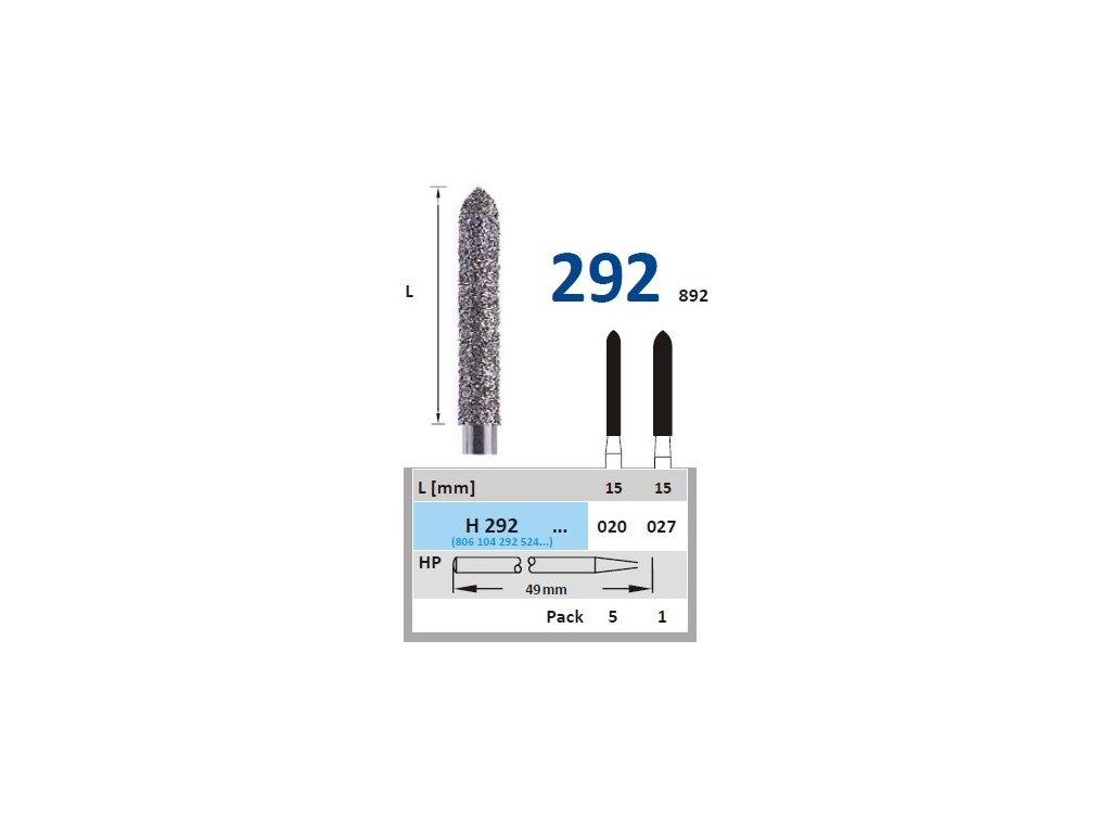 HORICO diamantový brousek - torpédo, H292, průměr 2,7mm, zrnitost normal (Zrnitost normal, Pracovní část Průměr 2,0mm (020))