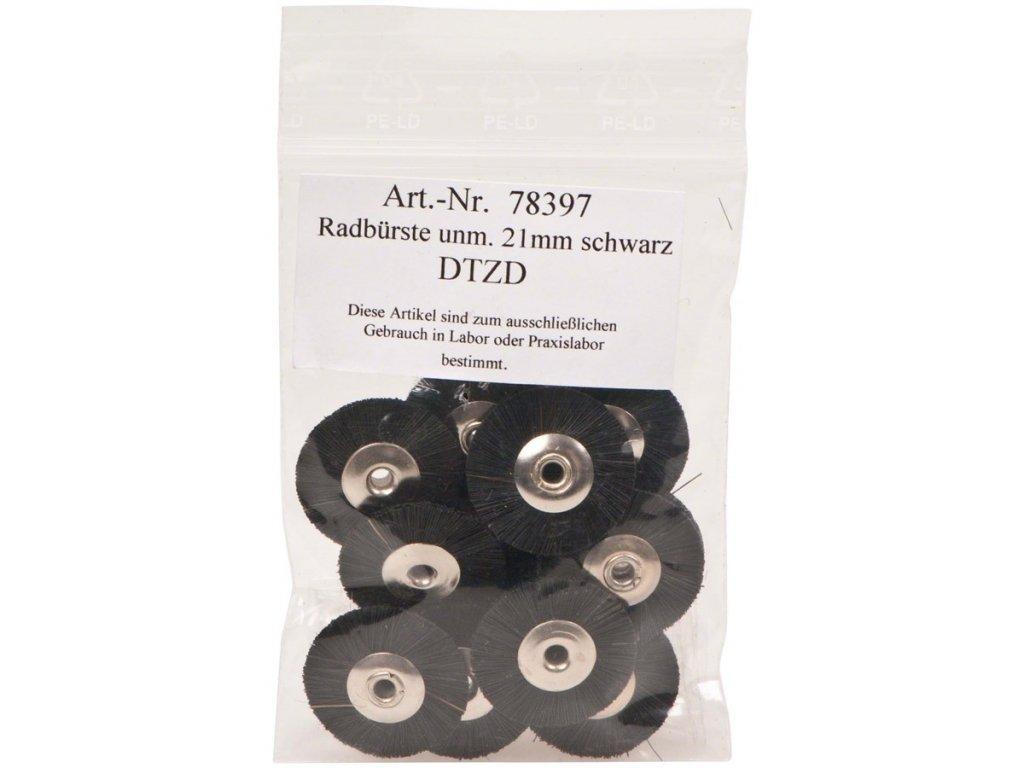 Kartáčky nemontované, černé štětinky 21mm 12ks