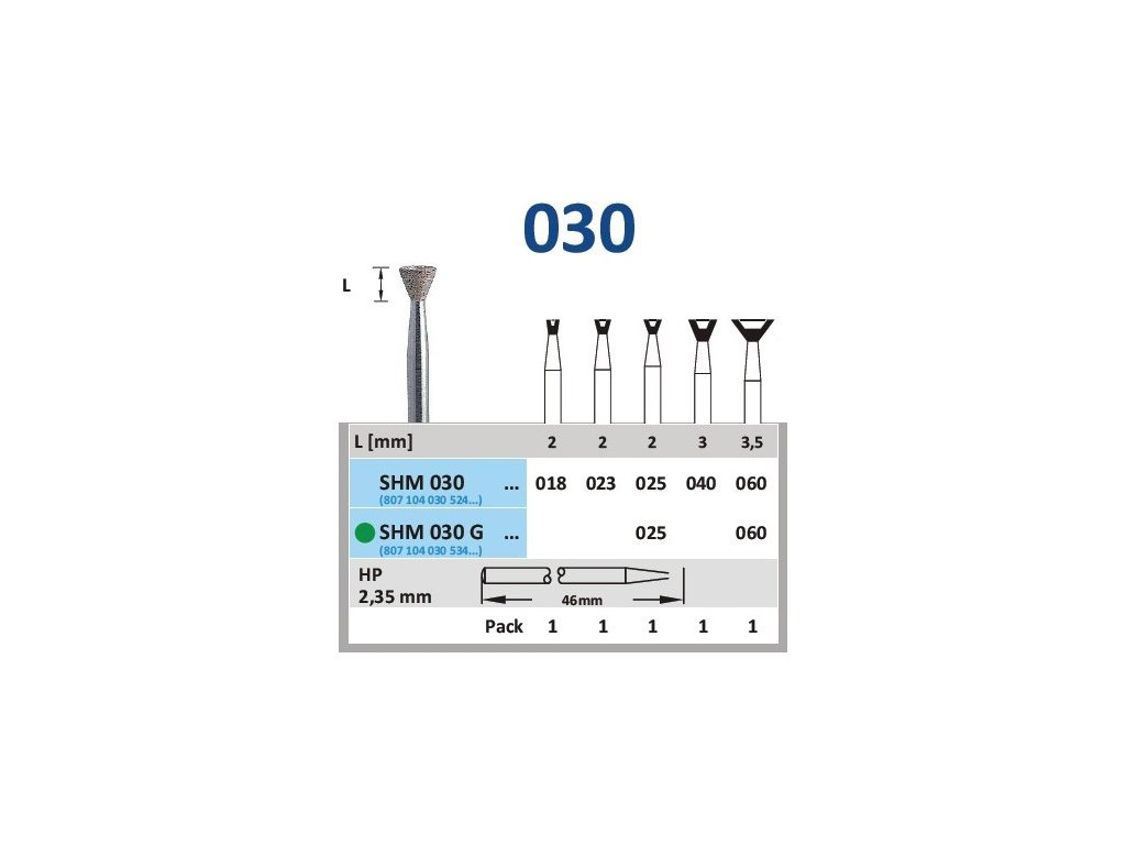 63123 sintrovany diamant obraceny konus shm030 prumer 1 8mm normal