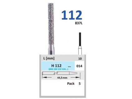 HORICO diamantový brousek - cylindr, H112 (Zrnitost normal, Pracovní část Průměr 1,4mm (014))