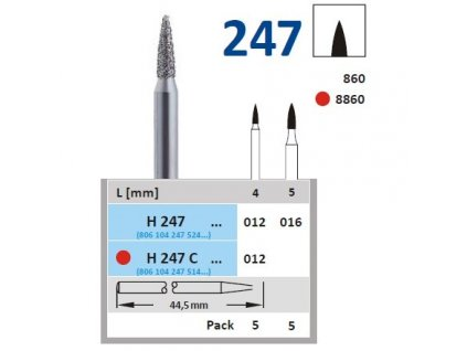 HORICO diamantový brousek - plamínek, H247 (Zrnitost normal, Pracovní část Průměr 1,2mm (012))