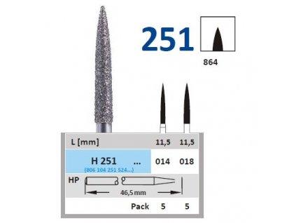 61098 horico diamantovy brousek plaminek h251 prumer 1 4mm zrnitost normal