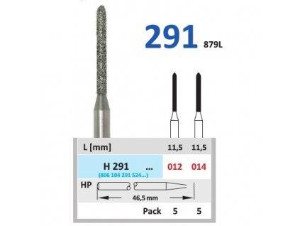 HORICO diamantový brousek - torpédo, H291 (Zrnitost normal, Pracovní část Průměr 1,2mm (012))