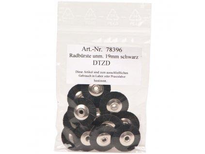 Kartáčky nemontované, černé štětinky 19mm 12ks