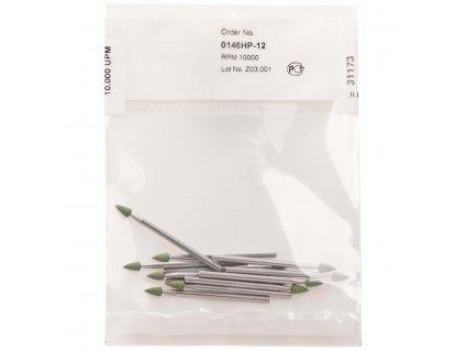 Leštící nástroje, zelený mini hrot, 12ks