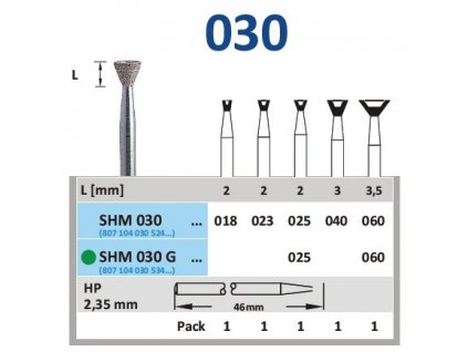 63138 sintrovany diamant obraceny konus shm030 prumer 2 5mm hruba