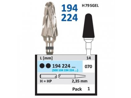 15264 tvrdokovova freza konus zakulaceny 194224 prumer 7mm