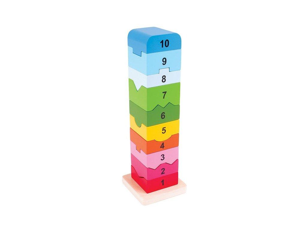 Dřevěná motorická věž s číslicemi
