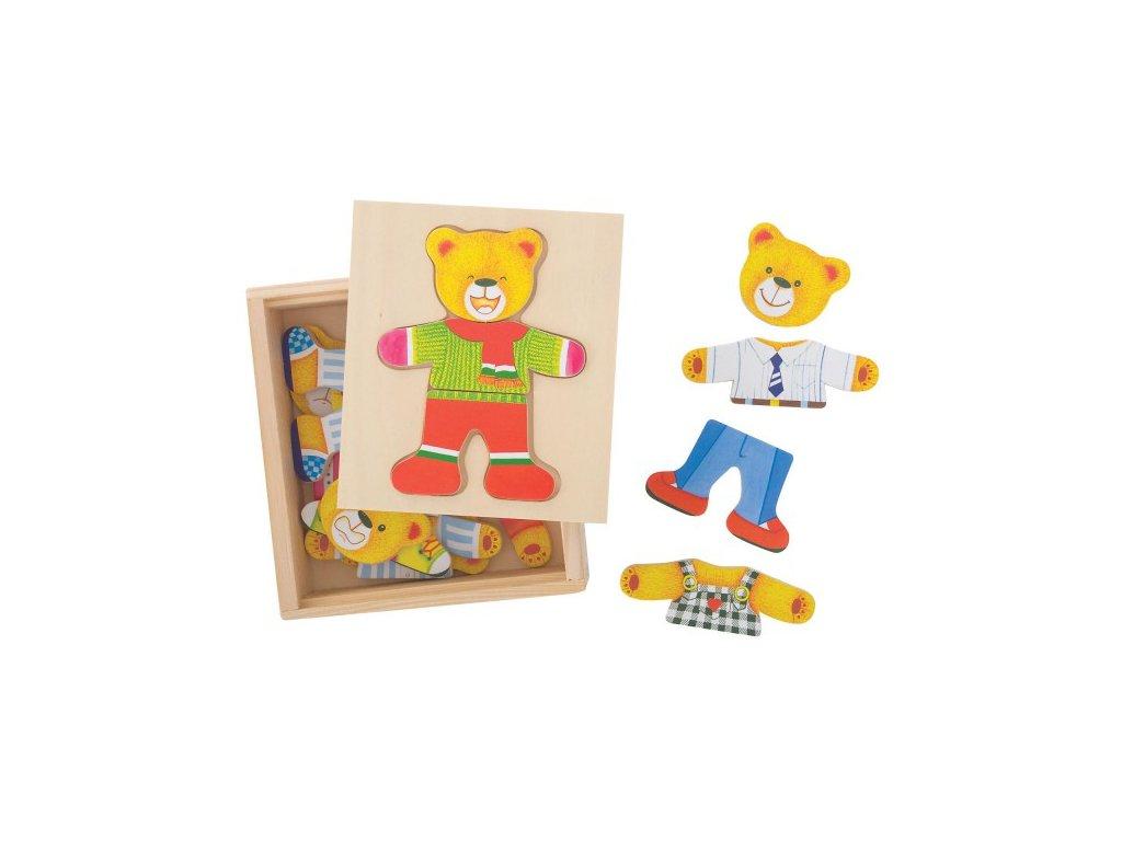 Bigjigs Toys Dřevěné oblékací puzzle v krabičce Pan Medvěd
