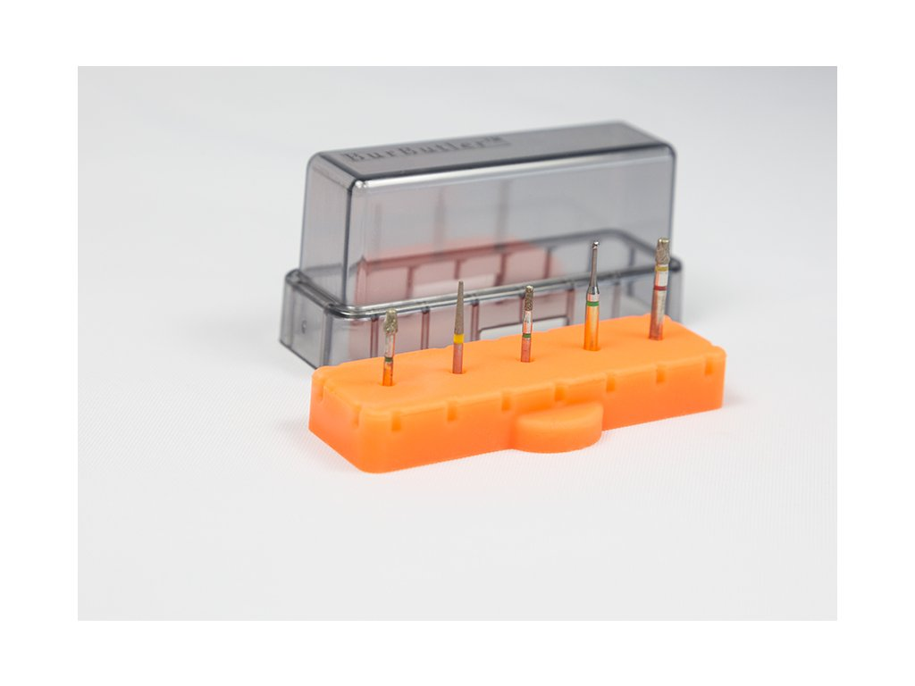 BurButler Amber Orange 5 hole base lid on with burs Small 1