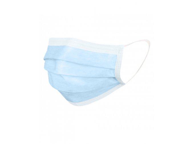 ochranna rouska jednorazova 3 vrstva modra 50 ks kzi