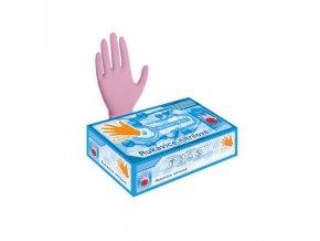 rukavice nitrilove nepudrove ruzove 100 ks velikost