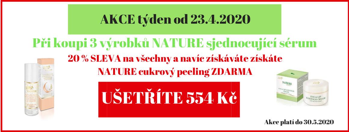 3 x NATURE sjednocující sérum a NATURE cukrový peeling ZDARMA