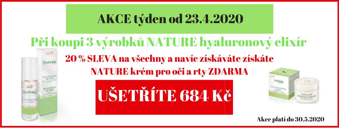 3 x NATURE hyaluron elixir s 20% slevou a NATURE krém na oči a rty