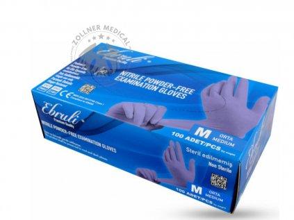 Ebruli Jednorázové, bezpúdrové Nitrilové prémiové vyšetrovacie rukavice, M, 100 ks