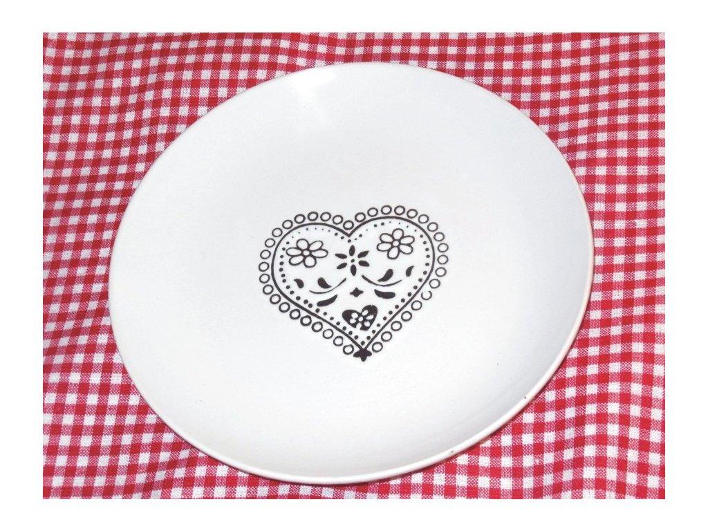 Mělký talíř s černým srdcem -Dakls
