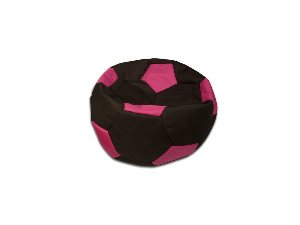 Sedací vak velký fotbalový míč černo/růžový Design-domov, 90cm
