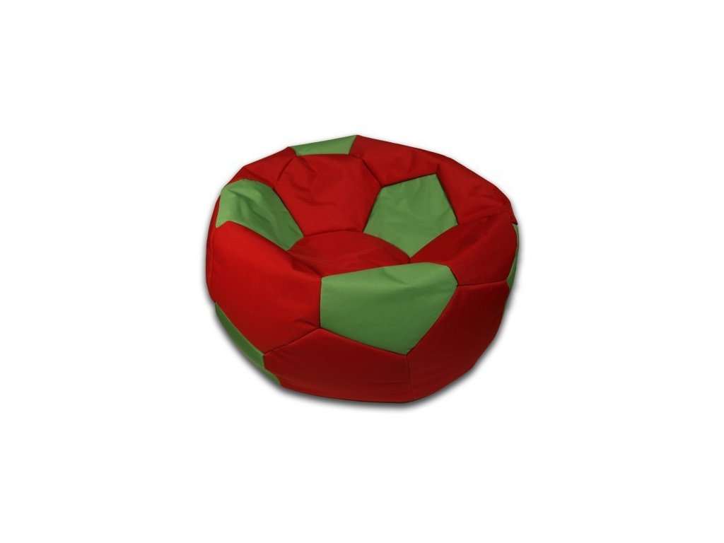 Sedací vak velký fotbalový míč červeno/zelený Pepe, 90cm