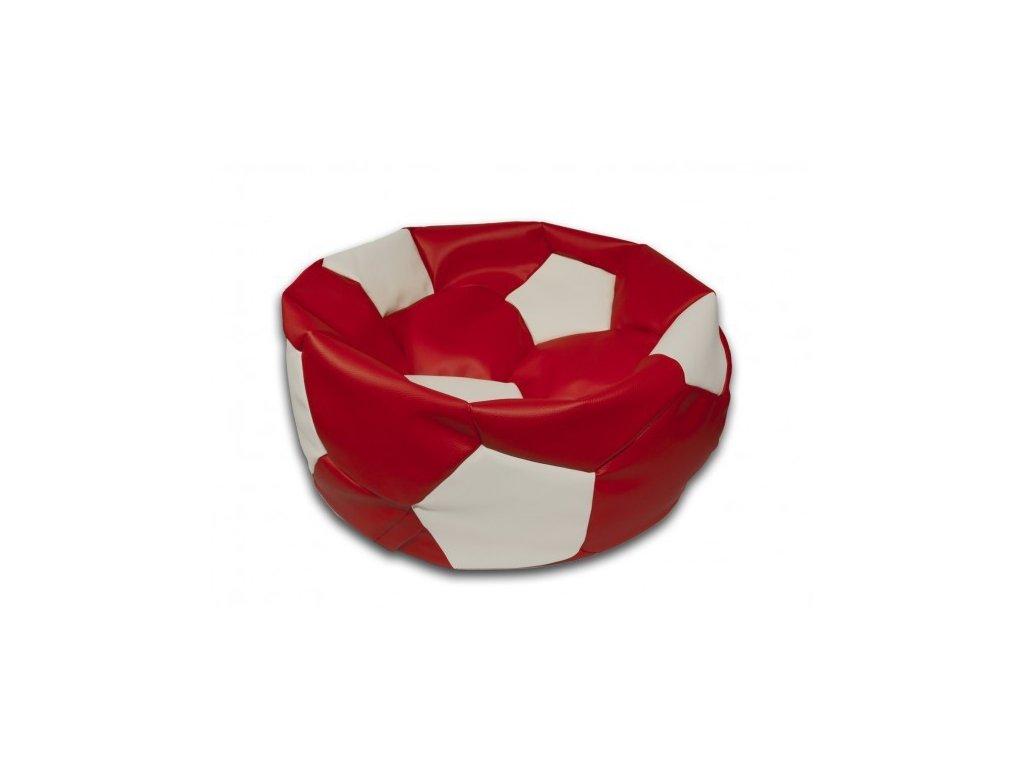 Sedací vak fotbalový míč červeno/bílý koženkový Pepe, 75cm