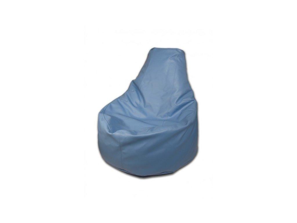 Sedací vak křeslo modrá koženka Design-domov, 85x80cm