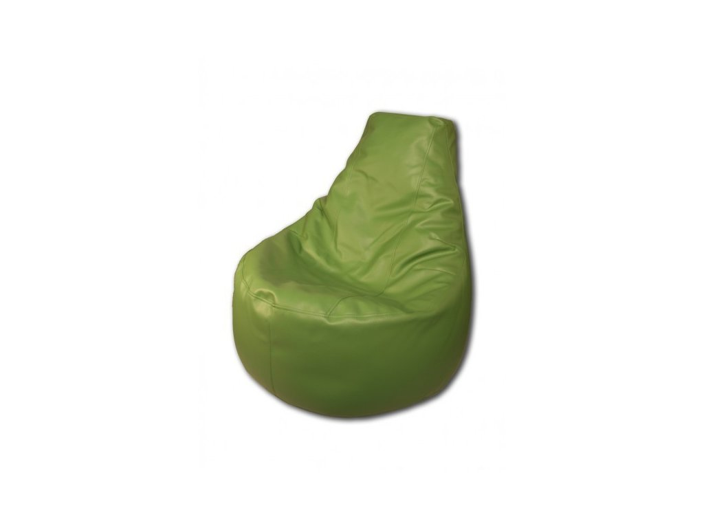 Sedací vak křeslo zelená koženka Pepe, 85x80cm