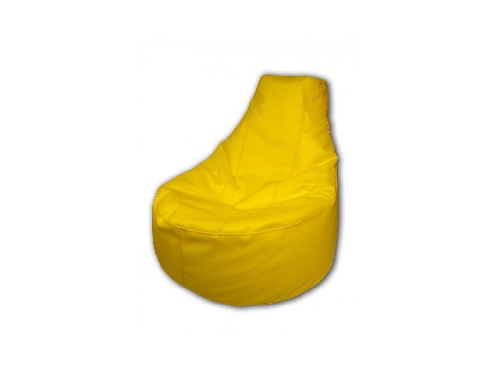 Sedací vak křeslo žlutá koženka Design-domov, 85x80cm