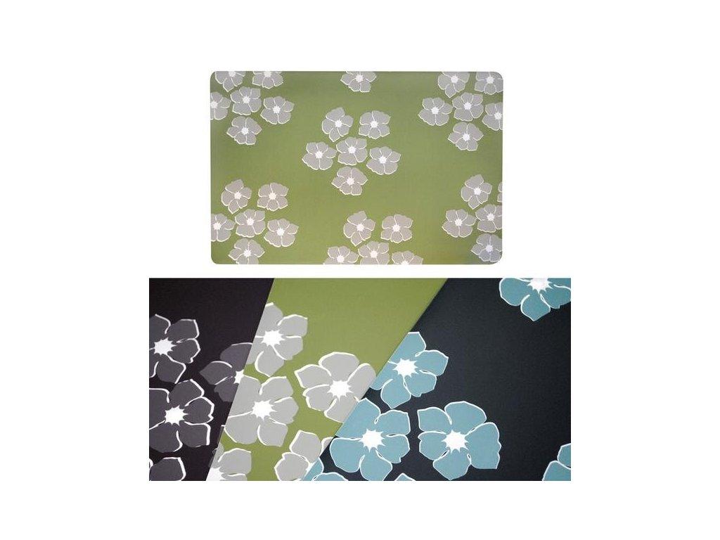 Prostírání šedé květy na zelené